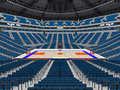 Large modern basketball arena with blue seats