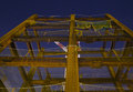 Large modern construction site at night Royalty Free Stock Images