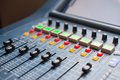 Large music mixer desk at he concert Royalty Free Stock Image