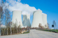 Large nuclear power plant the cooling towers of a in czech republic in europe Stock Image