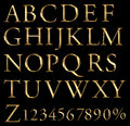 A large number of 3d Gold alphabet spelling art ar Stock Images