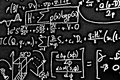 Large number of mathematical formulas on white background HDR Royalty Free Stock Photo