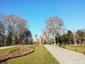 large old church in the distance Royalty Free Stock Photo