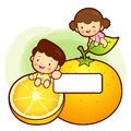 Large orange Brother and Sister Mascot. Home and Family Characte Stock Photography