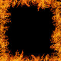 Large orange flame isolated on black background Royalty Free Stock Photography