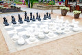 Large patio chess set Royalty Free Stock Photo