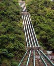 Large Penstock Pipes on a Mountain Stock Photos