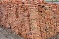 Large pile of red bricks Royalty Free Stock Photo