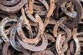 Large pile of rusty used Horseshoes Royalty Free Stock Photo