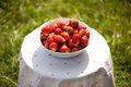 Large plate of ripe red strawberries Stock Photo