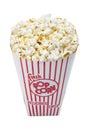 Large popcorn bucket on white Stock Photo