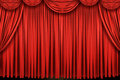Large red curtain stage Stock Images