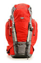Large red touristic backpack on white Stock Photos