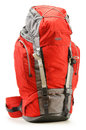 Large red touristic backpack on white Stock Photo