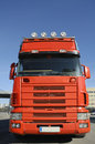 Large red truck and blue sky Royalty Free Stock Photo