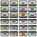 Large Retro Audio Tapes Collection - Vector Cassette Set