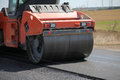 Large road roller paving a road construction Royalty Free Stock Photography
