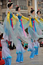 Large rod puppet show on lantern festival the sized puppets are used in the shows of northern sichuan that are popularly known as Royalty Free Stock Photography