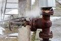 Large rusty valve is broken. Royalty Free Stock Photo