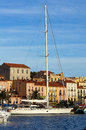 Large sailing yacht at dock in a french harbor the of port vendres roussillon pyrenees orientales france Royalty Free Stock Photo