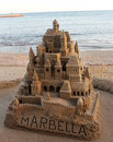 Large sandcastle in spain Royalty Free Stock Photography