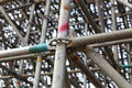 Large scaffolding joints in construction site Stock Images