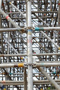 Large scaffolding joints in construction site Stock Photos