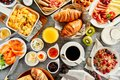 Large selection of breakfast food on a table Royalty Free Stock Photo