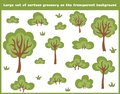 Large set of cartoon trees, bushes and grass isolated on the transparent background