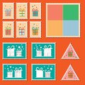 Large set of colorful christmas postage stamps with present boxes vintage new year decoration elements gift box package Royalty Free Stock Image