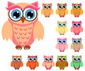 Large set of cute multicolored cartoon owls for children, different designs, trendy coral color