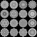 Large set of design elements, lace round paper doily, doily to decorate the cake, template for cutting, greeting element, snowfl