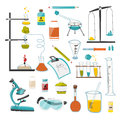 A large set of devices and equipment for chemical, scientific and research experiments. Vector Royalty Free Stock Photo
