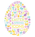 Large set of easter and spring icons