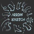 Large set of hand-drawn vintage arrows. Form style. It can be used for website design. Vector