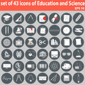 Large set of icons of education and science vector big eps easy to edit change colors Stock Photography