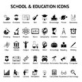 Large set of 40 school and education icons Royalty Free Stock Photo