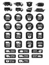 Large set of shipping and delivery badges icons free worldwide safely packed fast hour stickers Stock Images