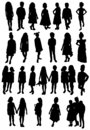 Set of silhouettes of women mothers with children, vector. Mother`s day concept. Royalty Free Stock Photo