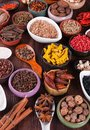 Large set of spices seasonings and salt Royalty Free Stock Photography