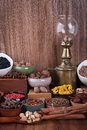 Large set of spices seasonings and salt Stock Image