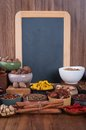 Large set of spices seasonings and salt with chalk board Stock Photo