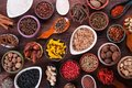 Large set of spices seasonings and salt top view Stock Photos