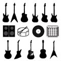Large set of various music instruments isolated Royalty Free Stock Photo