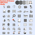 Large set of web icons business finance media vector eps Stock Images