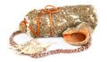 Large shells coral beads necklace, bottle plastered with sand, t