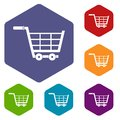 Large shopping trolley icons set hexagon