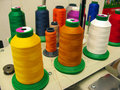 Large Spools of Sewing Thread Stock Photo