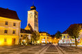 Large square and council tower in sibiu romania built th century placed transylvania Royalty Free Stock Photography