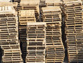 Large stack of wooden pallets Royalty Free Stock Photo